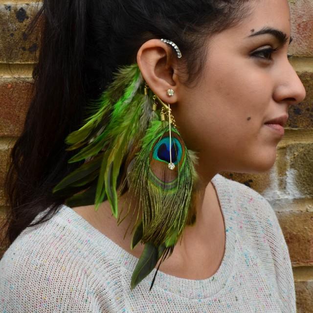 Designer Peacock Earring Cuff