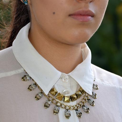 Gold Skull and Stud Collar Necklace Fashuun Village