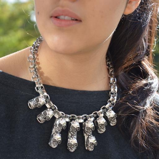 Silver Skull Statement Collar Necklace Fashuun Village