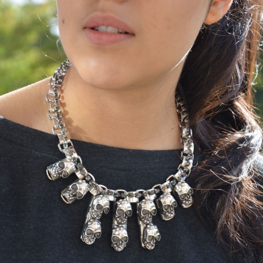Silver Skull Statement Collar Necklace Fashuun Village