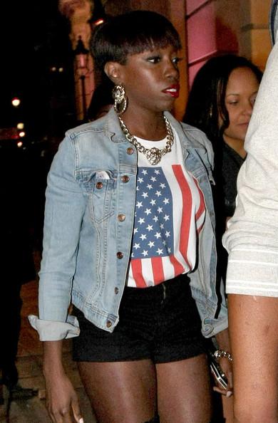 estelle-aura-nightclub-london-american-apparel-flag-tee-denim-jacket-doorknocker-earrings-black-shorts-over-the-knee-peep-toe-boots-1