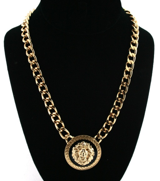Rihanna Lion Medalion Necklace