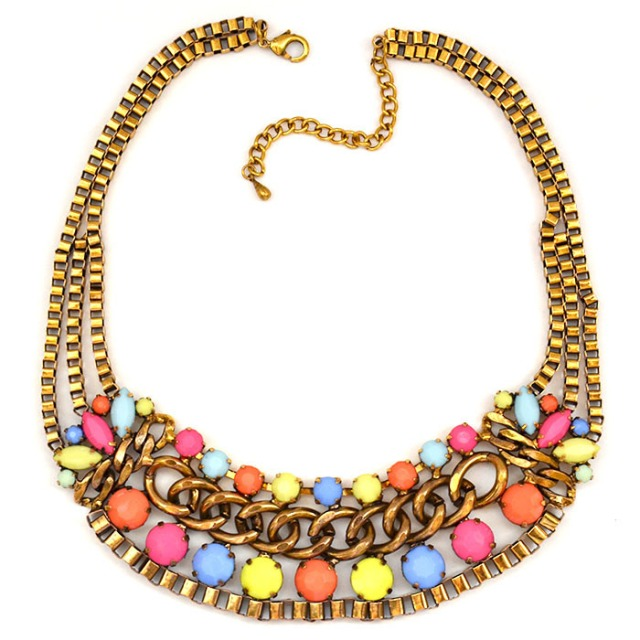 Bronze Gold Multi - Tier Neon Stone Necklace