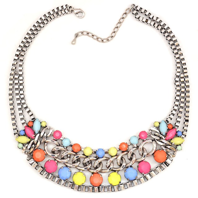 Silver Multi-Tier Neon Stone Necklace